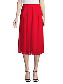 Anne Klein Pleated Midi Skirt POPPY