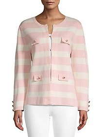 Anne Klein Striped Crewneck Cardigan PINK STRIPE