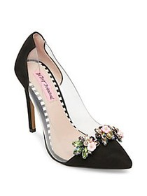 Betsey Johnson Jane Embellished Suede Pumps BLACK