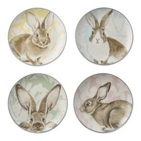 Damask Bunny Mixed Appetizer Plates, Set of 4