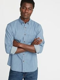 Regular-Fit Built-In Flex Chambray Everyday Shirt