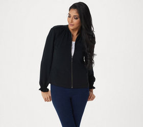 H by Halston Knit Bomber Jacket with Ruching Detai