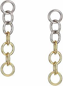 "Kenneth Jay Lane 3"" Rhodium/Gold Multi Circle Drop"