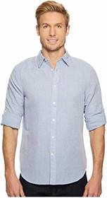 Perry Ellis Rolled-Sleeve Solid Linen Cotton Shirt