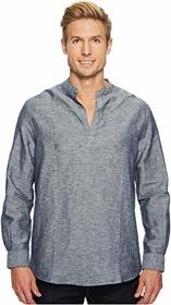 Perry Ellis Long-Sleeve Solid Linen Cotton Popover