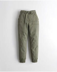 Hollister Ultra High-Rise Twill Joggers, OLIVE