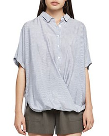 BCBGENERATION - Striped Button-Down Front-Tuck Shi