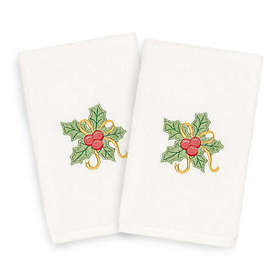 Linum Home Textiles Christmas Holly Bunch Hand Tow