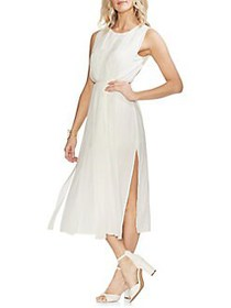 Vince Camuto Oasis Bloom Pleated Belted Dress PEAR
