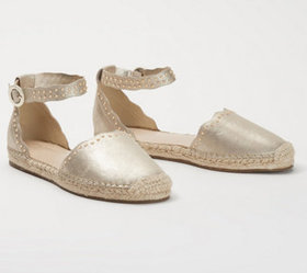 Marc Fisher Leather Espadrilles with Ankle Strap-