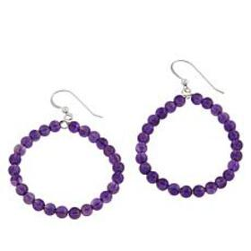 Jay King Amethyst Bead Hoop Drop Sterling Silver E