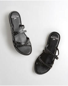 Hollister Studded Strappy Slide Sandal, BLACK