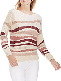 Vince Camuto Oasis Bloom Striped Knit Sweater SAND
