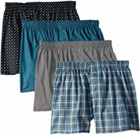 Hanes 4-Pack Core Cotton Plaid Boxers