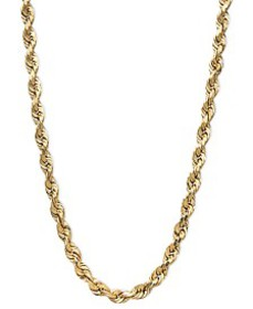 """14k Gold Necklace, 20"""" Diamond Cut Rope Chain (3mm"""