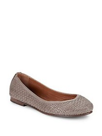 Frye Carson Woven Leather Ballet Flats GREY