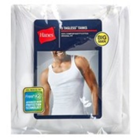 BLUE LABEL Hanes Big & Tall 3-Pack Ribbed White Ta
