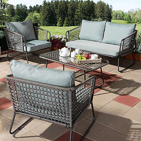 Baxton Studio Divna 4-Piece Patio Set in Grey/Sky