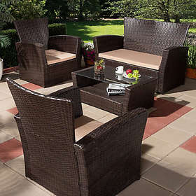 Baxton Studio Paule 4-Piece Outdoor Patio Set in B
