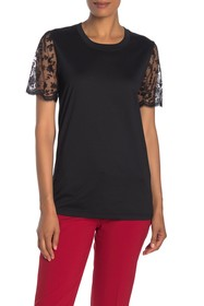 Burberry Floral Embroidered Tulle Sleeve Tee