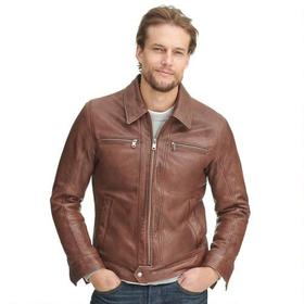 Wilsons Leather Vintage Center Zip Shirt Collar Le