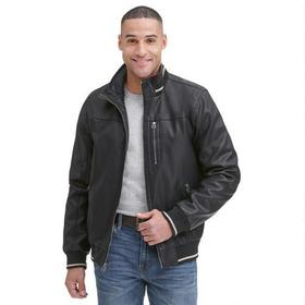 Wilsons Leather Faux-Leather Knit Collar Bomber Ja