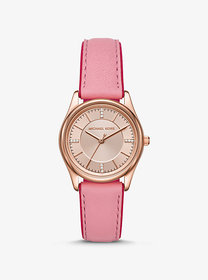 Michael Kors Colette Rose Gold-Tone and Leather Wa