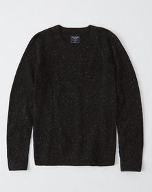 Textured Donegal Crew Sweater, BLACK