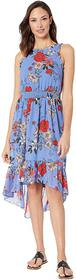 Vince Camuto Printed Bateau Neck Fit and Flare Dre