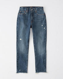 High Rise Mom Jeans, DARK WASH WITH RIPPED HEM