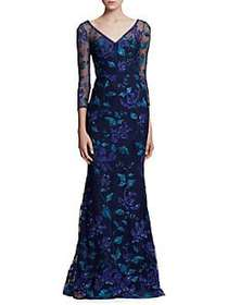 Marchesa Notte Floral Floor-Length Gown NAVY