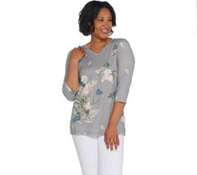 Quacker Factory Floral Printed 3/4-Sleeve Knit Top