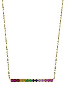 Bloomingdale's - Rainbow Sapphire Bar Necklace in