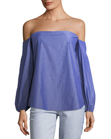 Theory Laureema Off-the-Shoulder Striped Poplin To