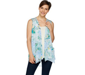 LOGO by Lori Goldstein Printed Chiffon Vest with K