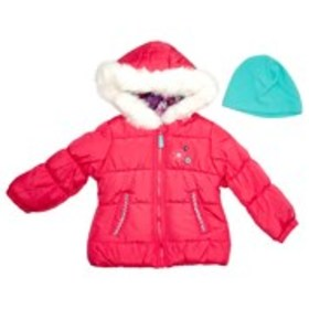 LONDON FOG Toddler Girls Hooded Bubble Jacket with
