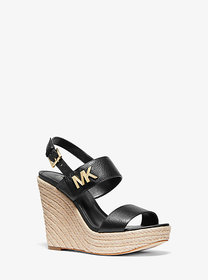 Michael Kors Deanna Leather and Jute Wedge