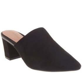 Taryn Rose Leather Pointed-Toe Heeled Mules - Madi
