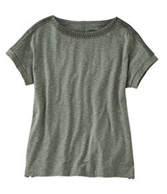 LL Bean Cotton/Tencel Slub Tee, Short-Sleeve Boatn