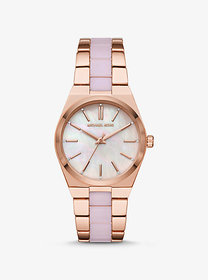 Michael Kors Channing Rose Gold-Tone and Acetate W
