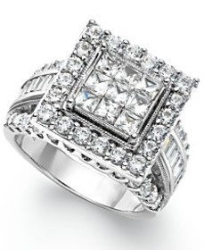 Diamond Square Engagement Ring in 14k White Gold (