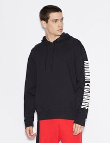 Armani SWEATSHIRT WITH HOOD AND CONTRASTING LETTER