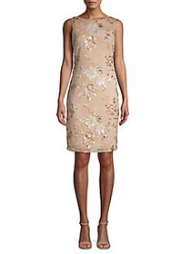 Calvin Klein Floral Embroidered Sheath Dress BUFF