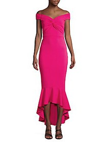 QUIZ Front-Knot Off-The-Shoulder Gown BRIGHT PINK