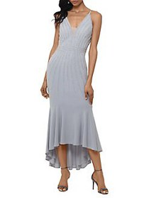 Xscape Embellished High-Low Mermaid Dress SILVER