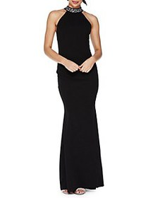 QUIZ Embellished Fishtail Gown BLACK