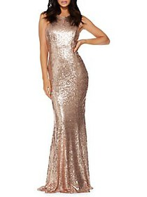 QUIZ Sequined Open-Back Gown GOLD
