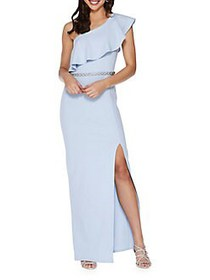 QUIZ Embellished Ruffled Overlay Gown BLUE