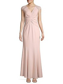 Vince Camuto Floral Embroidered Gathered Gown BLUS