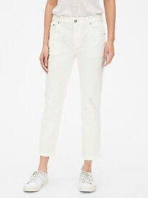 Mid Rise Girlfriend Jeans with Distressed Detail